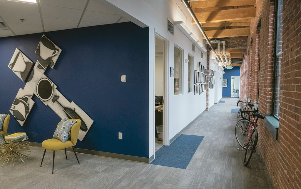 RENOVATED SPACE: Rising Sun Mills at 166 Valley St. in Providence was initially renovated in 2003 and is now going through a second wave of renovation for new tenants. Shown above is recently redone space in EpiVax offices. / PBN PHOTO/MICHAEL SALERNO