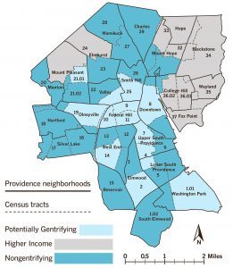 TRACT CLASSIFICATIONS AND NEIGHBORHOOD BOUNDARIESThe U.S. Census tracts that make up the different neighborhood types in Providence are geographically clustered, with higher-income tracts in the city's East Side, where Brown University is located, with the exception of tract 24, which includes portions of Elmhurst and Mount Pleasant neighborhoods, home to Providence College and Rhode Island College; potentially gentrifying tracts clustered at the center of the city, around downtown and Federal Hill; and low-income, nongentrifying tracts primarily in southern, western and northern Providence.