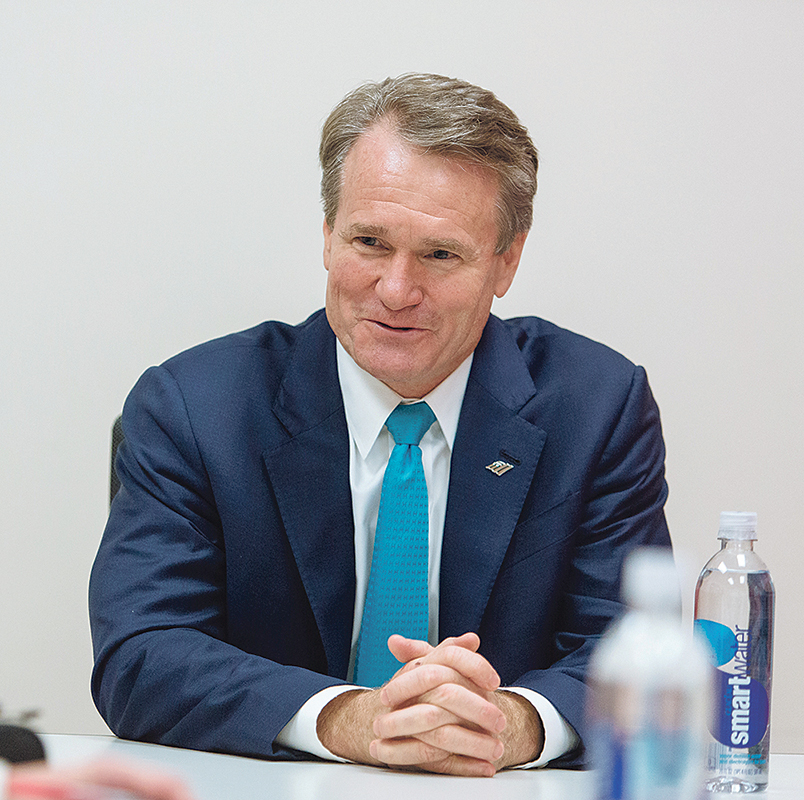 COMMUNITY BASED: Bank of America may have nearly $2.3 trillion in assets, but as CEO Brian Moynihan points out, the bank's health depends on the health of the many communities it operates in.  / PBN PHOTO/RUPERT WHITELEY