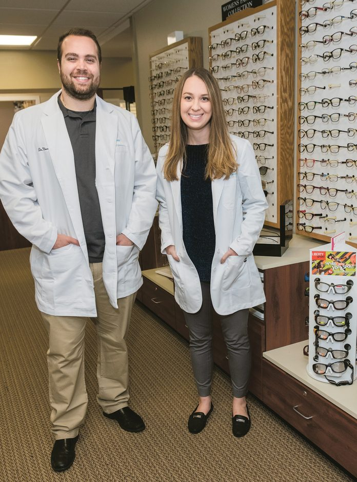CONTINUING CARE: Modern Eyes owners and optometrists Vincenzo Gianfrancesco and Kellie McMahon worked on the staff of an optometry firm in Bristol County, Mass., before going into business for themselves in Pawtucket and East Providence. / PBN PHOTO/MICHAEL SALERNO