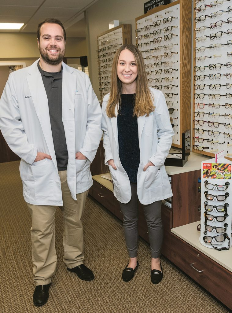 CONTINUING CARE: Modern Eyes owners and optometrists Vincenzo Gianfrancesco and Kellie McMahon worked on the staff of an optometry firm in Bristol County, Mass., before going into business for themselves in Pawtucket and East Providence.