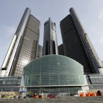 LAYOFFS: General Motors Co. announced plans to cut more than 14,000 salaried staff and factory workers and close five factories in the U.S. and Canada by the end of next year. Above, GM's headquarters in Detroit. / BLOOMBERG NEWS FILE PHOTO/JEFF KOWALSKY