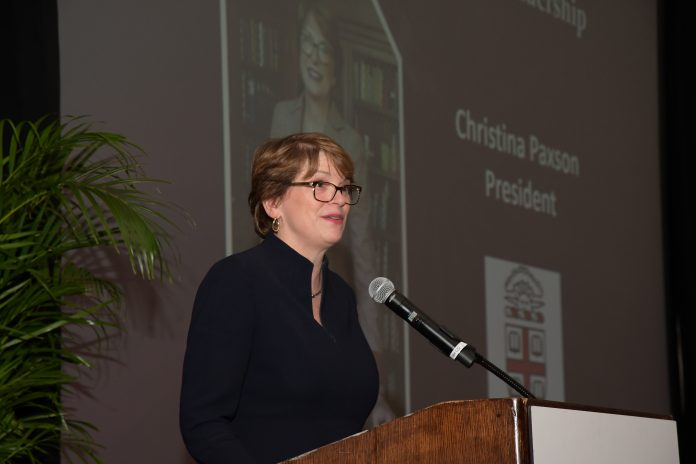 BROWN UNIVERSITY PRESIDENT Christina H. Paxson addresses the crowd at PBN's 18th Business Excellence Awards program, held Wednesday evening at the Omni Hotel Providence. Paxson received the program's top honor for Business Leadership. / PBN PHOTO/MIKE SKORSKI
