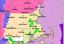 THE R.I. STATE POLICE responded to 50 weather-related crashes Thursday night and Friday morning. Above, a NWS map of flood warnings (in green), which remained in effect Friday through the afternoon. / COURTESY NATIONAL WEATHER SERVICE