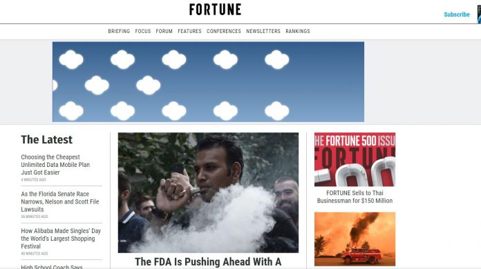 A SCREENSHOT of the Fortune Magazine website. The publication as just sold for $150 million.