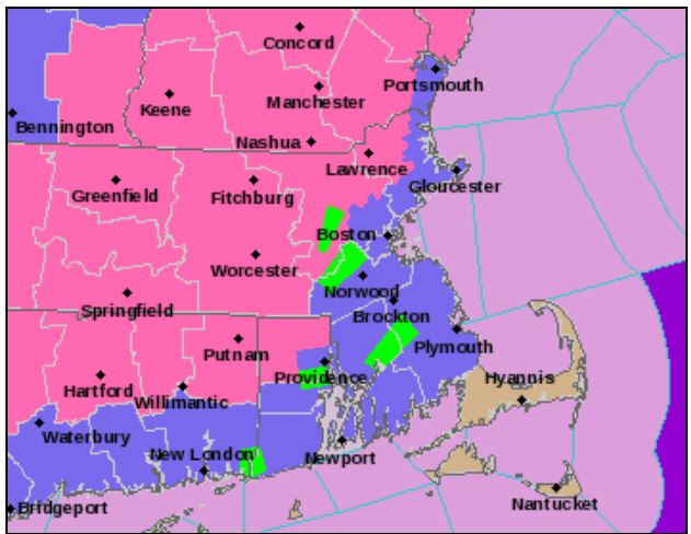 AN NATIONAL WEATHER SERVICE MAP of the Thursday snowstorm expected to affect the evening commute. Pink represents a Winter Storm Warning, while light purple represents a less serious Winter Weather Advisory. This map is reflective of projections as of 12:09 p.m., Thursday. The storm is expected to impact Rhode Island starting at 4 p.m. / COURTESY NATIONAL WEATHER SERVICE