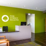 BLUE CROSS AND BLUE SHIELD OF RHODE ISLAND and Oak Street Health will open three primary care health centers for Medicare patients in Rhode Island in 2019. Above, a view of an Oak Street Health center's front desk in Ashburn, Ill. / COURTESY TORI SOPER