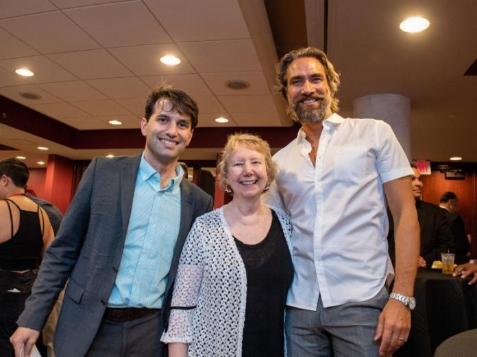 SHAWN QUIRK, left, Rhode Island International Film Festival program director, with Nancy Carriuolo, former president of Rhode Island College, and Lukas Hassel, previous grand prize winner for Best Screenplay, at the RIIFF Screenplay Competition awards. As a guest, Carriuolo served as RIIFF ambassador to welcome the event's international attendees. / COURTESY RHODE ISLAND INTERNATIONAL FILM FESTIVAL /MIKE BRACA
