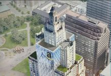 WHILE IT DID NOT get the nod as one of the two cities chosen by Amazon.com for its HQ2 project, Providence did make a bid, which included this rendering of a glass-laden Superman Building as part of the pitch. / COURTESY R.I. COMMERCE CORP.