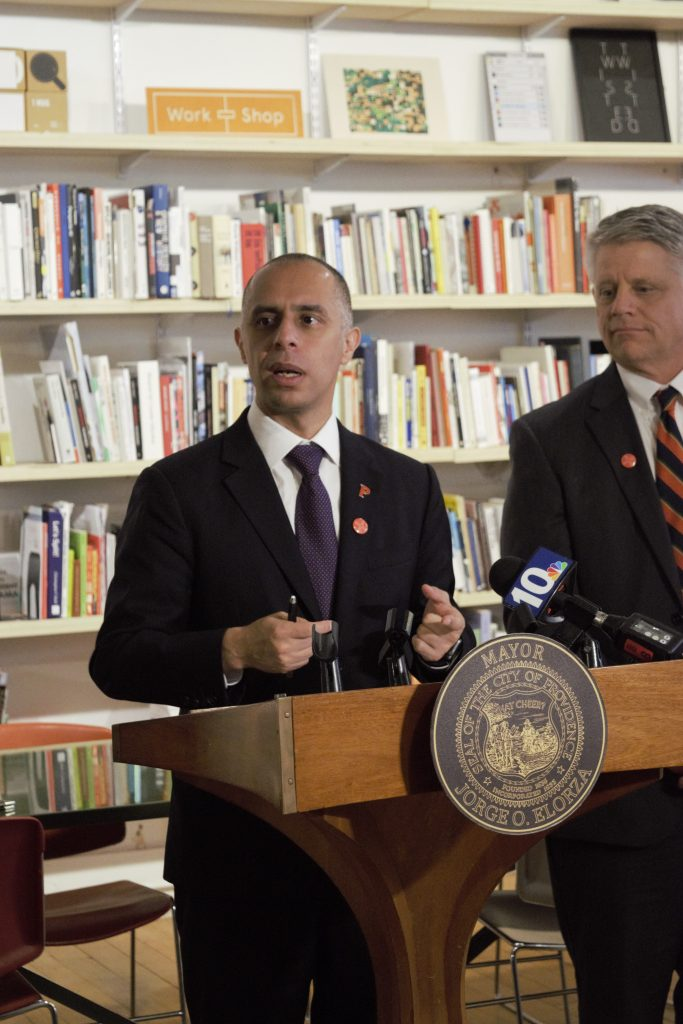 PROVIDENCE MAYOR Jorge O. Elorza, left, announced the launch of another round of the Providence Design Catalyst program. This year, the program will provide $150,000 to the program's cohort. Applications opened Nov. 1. On the right, R.I. Department of Labor and Training Director Scott Jensen. / COURTESY DESIGNXRI