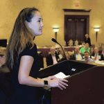INDUSTRY SPECIALIST: Nina Kollars of the U.S. Naval War College in Newport speaks to the audience during the 2018 PBN Cybersecurity Summit at the Crowne Plaza Providence-Warwick in Warwick on Oct. 11. / PBN FILE PHOTO/MIKE SKORSKI
