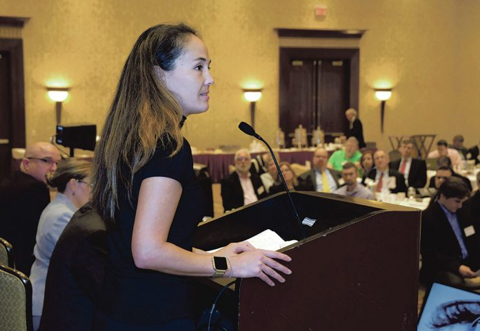 INDUSTRY SPECIALIST: Nina Kollars of the U.S. Naval War College in Newport speaks to the audience during the 2018 PBN Cybersecurity Summit at the Crowne Plaza Providence-Warwick in Warwick on Oct. 11.