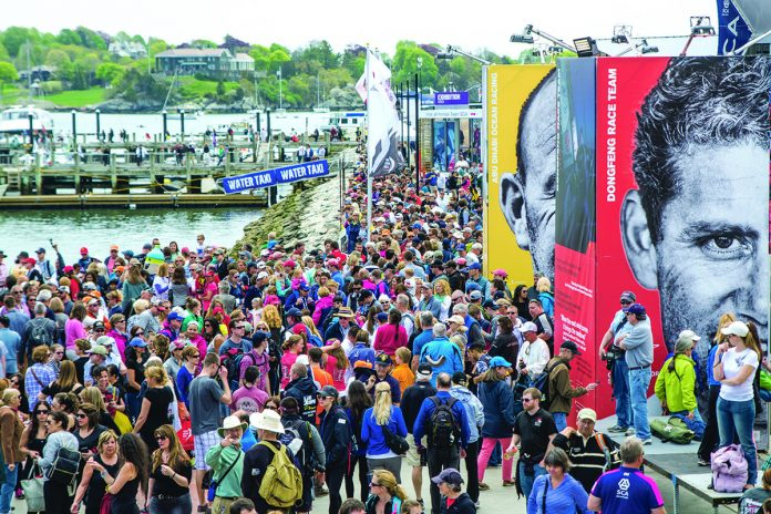 RACE VILLAGE: Crowds gather in Newport for the Volvo Ocean Race stopover in May 2015. The 2017-2018 race stopover marked the second time Newport served as the sole North American locale to host the around-the-world yacht race. In the first week, the race village at Fort Adams State Park saw more than 40,000 ­visitors. / COURTESY VOLVO OCEAN RACE/MARC BOW