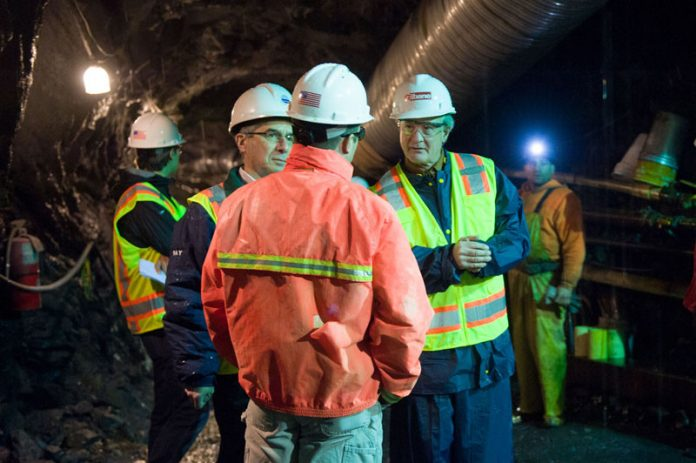 THEN-GOV. Lincoln Chafee toured the second phase tunnel several years ago of the Narragansett Bay Commission's $1 billion-plus Combined Sewer Overflow project. The second phase was completed in 2014. The commission is now in the design stage of the third phase of the tunnel. / COURTESY OF THE NARRAGANSETT BAY COMMISSION