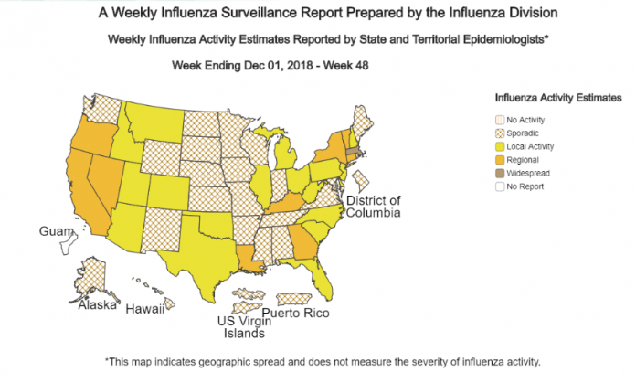 THE CENTERS FOR DISEASE Control and Prevention recommends getting immunized against flu. Above, the map shows that the current rates of flu are sporadic in R.I. but higher in Connecticut and Massachusetts. / COURTESY CENTERS FOR DISEASE CONTROL AND PREVENTION