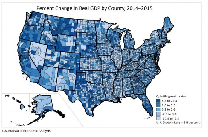 WASHINGTON COUNTY had the highest percent GDP growth from 2014 to 2015 in Rhode Island while Providence County accounted for the majority of all GDP in the state. Meanwhile, Bristol County, Mass., GDP was larger than all counties' GDP in Rhode Island, except Providence County. / COURTESY BUREAU OF ECONOMIC ANALYSIS
