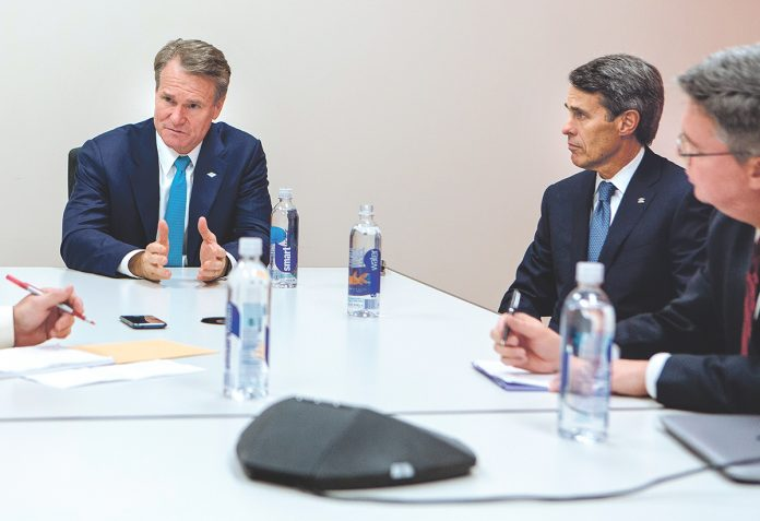 BANK OF AMERICA CEO Brian Moynihan, left, and Rhode Island Market President Willam F. Hatfield recently sat down with PBN to talk about the bank's operations, health and approach to banking in the post-Great Recession era. / PBN FILE PHOTO/RUPERT WHITELEY