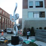 """A NEW SCULPTURE titled """"Elevation II"""" fabricated by Paul Machalaba has been installed outside the soon-to-open Homewood Suites By Hilton Providence Downtown. / COURTESY FIRST BRISTOL CORP."""
