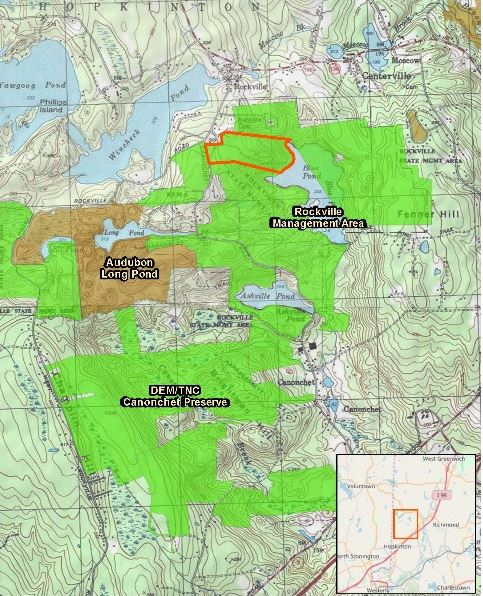 THE R.I. DEPARTMENT of Environmental Management has purchased 58 acres of land in Hopkinton, including the last unprotected tract of land abutting Blue Pond. Above, the area purchased is outlined in red at the north end of the pond. / COURTESY R.I. DEPARTMENT OF ENVIRONMENTAL MANAGEMENT