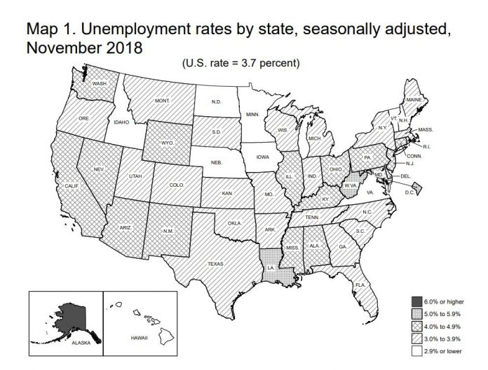 RHODE ISLAND unemployment declined 0.7 percentage points year over year to 3.8 percent in November. Rhode Island had the fastest rate of decline in the New England region in that time but remained with the second-highest unemployment rate in the region. / COURTESY BUREAU OF LABOR STATISTICS