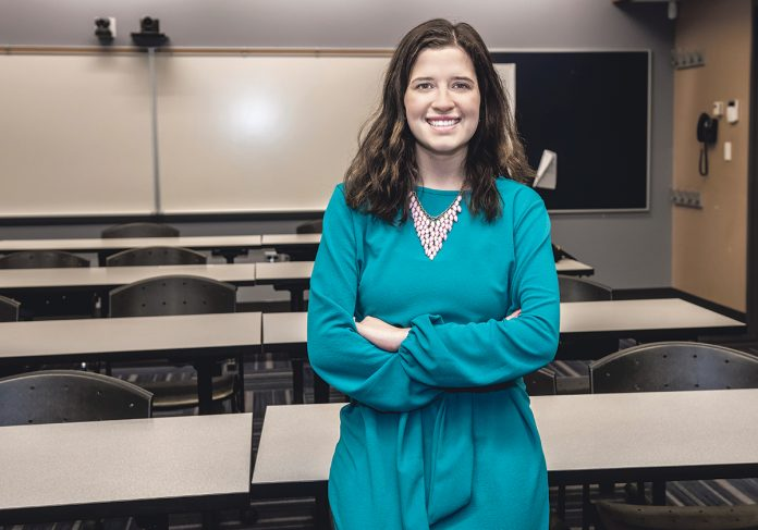 SUBSTITUTE TEACHER: Meghan M. Hill recently graduated from Rhode Island College's education program and began a six-month substitute teaching position at RIC's on-campus Henry Barnard Elementary School in January. /PBN PHOTO/MICHAEL SALERNO
