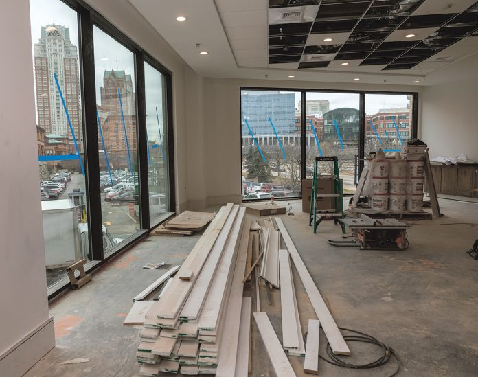 PANORAMIC VIEW: Homewood Suites by Hilton Providence Downtown, a new extended-stay hotel under construction at the corner of Exchange Street and Memorial Boulevard in downtown Providence, offers panoramic views from the first-floor windows.
