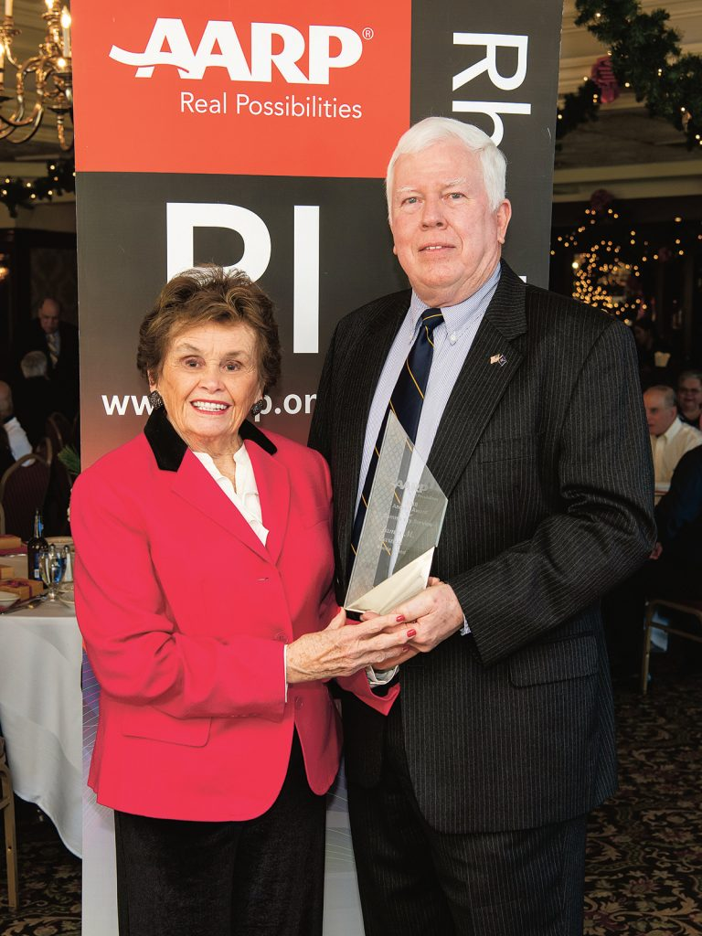 "COMMUNITY SERVICE: James ""Jeff"" Carney, the former Rhode Island director of the AARP Foundation Tax-Aide program, recently received the AARP Rhode Island Andrus Award for Community Service. Pictured with Carney is AARP Rhode Island State Director Kathleen Connell. 