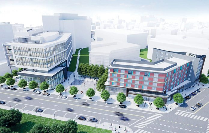 THE COMMERCE RI Board of Directors approved incentives for CV Properties and its construction of the Aloft Hotel in the I-195 Innovation District. Above on the right, an initial rendering of the hotel. Commerce also approved incentives for the relocation and staff hiring at Custom & Miller Box and approved five innovation vouchers Monday. / COURTESY ­WEXFORD SCIENCE & ­TECHNOLOGY