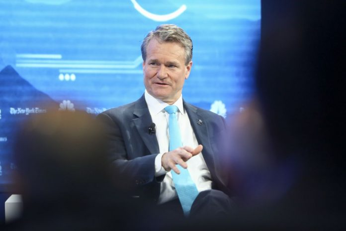 BANK OF AMERICA Corp. CEO Brian Moynihan predicted another round of consolidation in the U.S. that could lead to the emergence of a new competitor, speaking on a panel at the World Economic Forum in Davos, Switzerland. / BLOOMBERG NEWS FILE PHOTO/JASON ALDEN