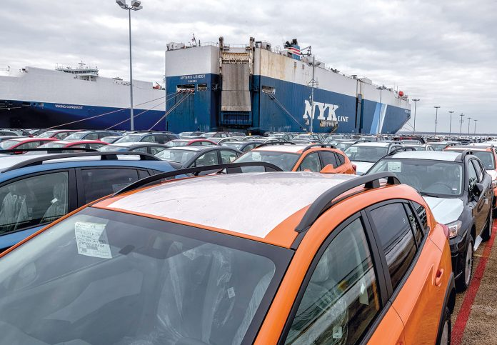 THE PORT OF DAVISVILLE in 2018 imported 280,387 vehicles, including 241,851 by ship. /PBN FILE PHOTO MICHAEL SALERNO.