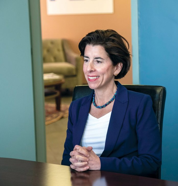 GOV. GINA M RAIMONDO will propose a $30 million increase in school funding and expanded job training in a budget she will release later this week. / PBN FILE PHOTO/MICHAEL SALERNO