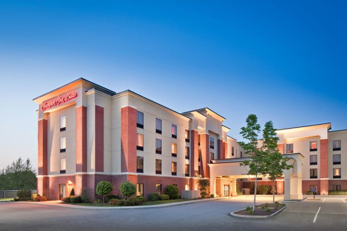 THE HAMPTON INN & SUITES Providence/Smithfield was sold for $9.9 million. / COURTESY HOLLIDAY FENOGLIO FOWLER LP