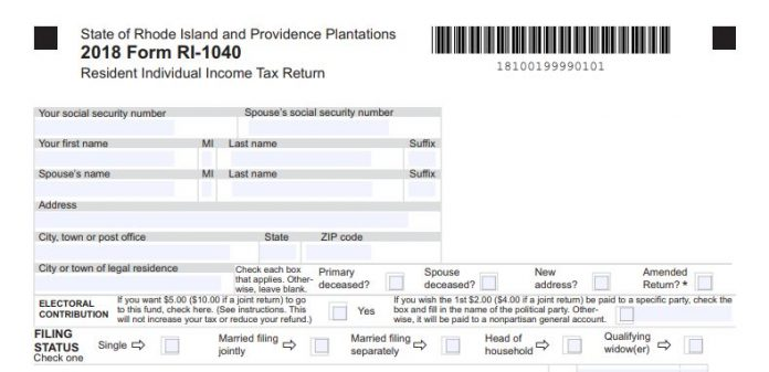 THE R.I. DIVISION OF TAXATION is now accepting and processing tax returns. Above, the beginning of a RI-1040 personal income tax return form. / COURTESY R.I. DEPARTMENT OF REVENUE