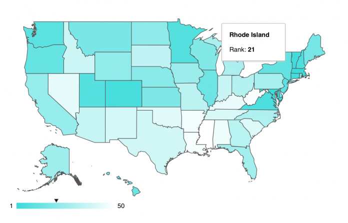 RANKING NO. 21 IN THE NATION for most educated state, Rhode Island was the lowest-ranked New England state in the Monday report released by WalletHub. Massachusetts was the highest-ranked state while Mississippi came in at No. 50. / COURTESY WALLETHUB