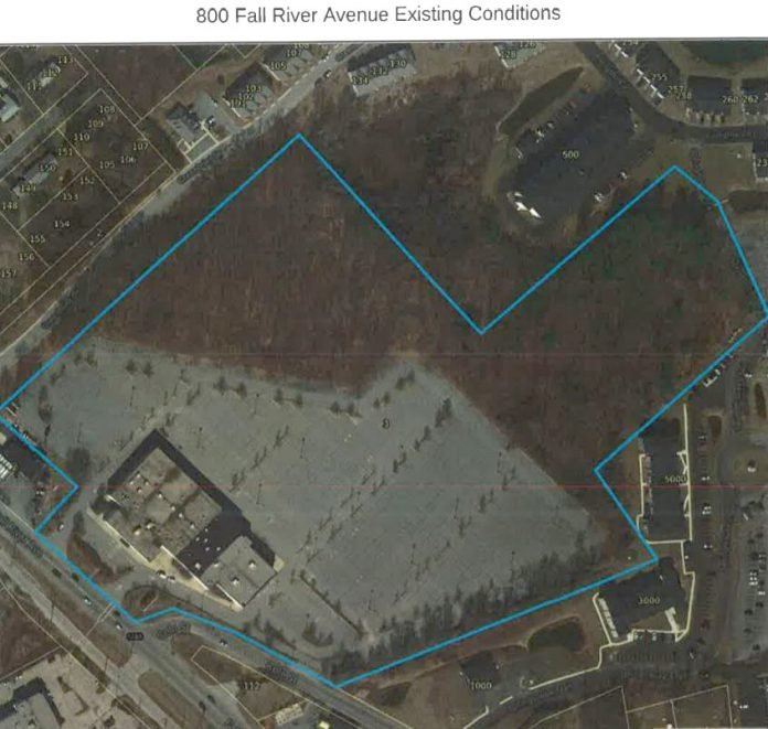 THE FORMER SHOWCASE CINEMAS in Seekonk could be redeveloped and split into two parcels, with the undeveloped back portion proposed for condominiums, according to a plan filed with the town, and the original building and a portion of the parking lot converted to a marijuana processing facility. / COURTESY TOWN OF SEEKONK