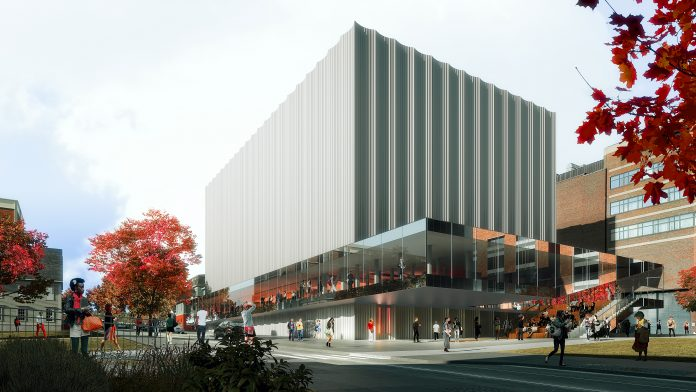 RENDERINGS OF Brown University's state-of-the-art Performing Arts Center, released Wednesday, show a glass 'clearstory' extending out from the building's main frame, allowing visibility into the structure's main floor and performance hall./COURTESY REX