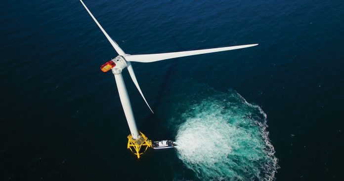 CLEAN ENERGY BUT NOT CLEAN PROCESS: While offshore-wind energy production is coming on a large scale to the region – pictured here is one of the five Block Island Wind Farm turbines – the contracts involving the electricity are anything but clear. 