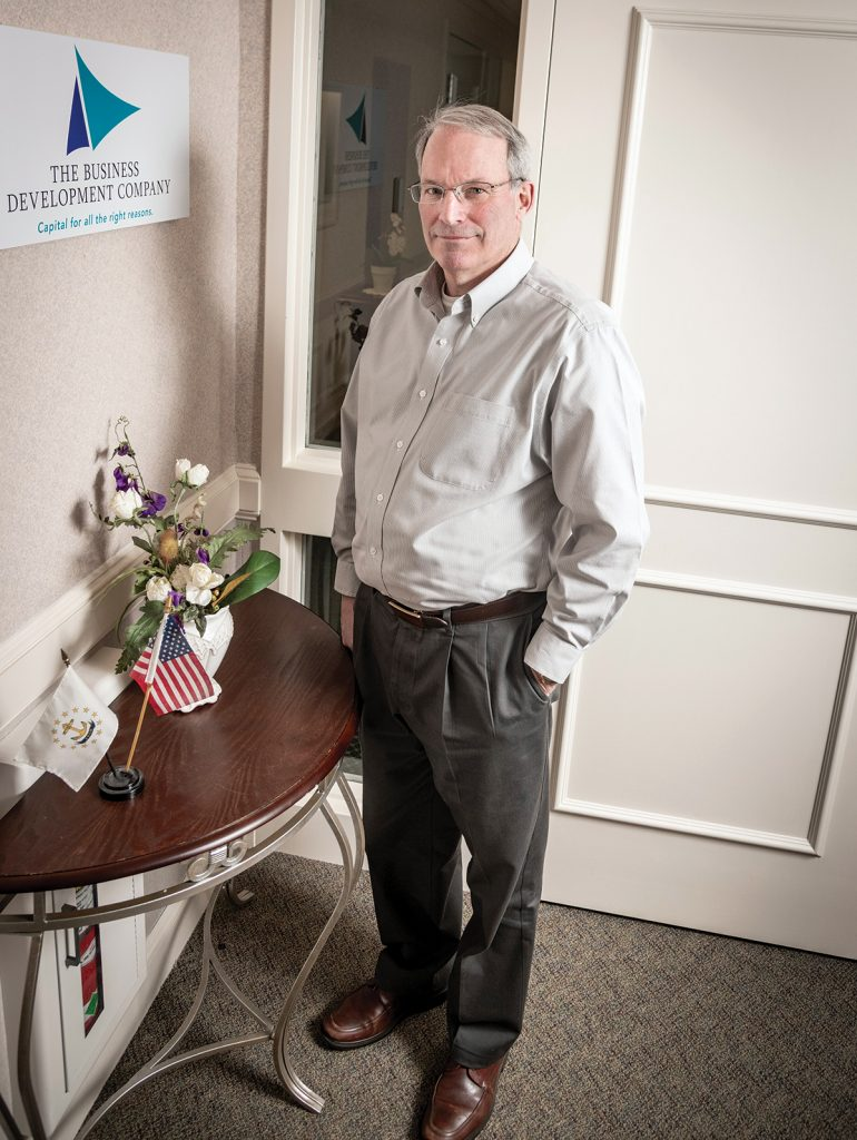 At The Business Development Co. since 1995, Peter Dorsey manages its loan portfolio of about 40 companies. He also served as a founder and executive director of the Cherrystone Angel Group, Rhode Island's first angel investment group. / PBN PHOTO/MICHAEL SALERNO
