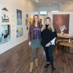CONTEMPORARY VIEW: Bobbie Lemmons, right, founder and creative director of Atelier Newport, in the gallery with ­Michele Maker Palmieri. Lemmons focuses on emerging and midcareer artists.