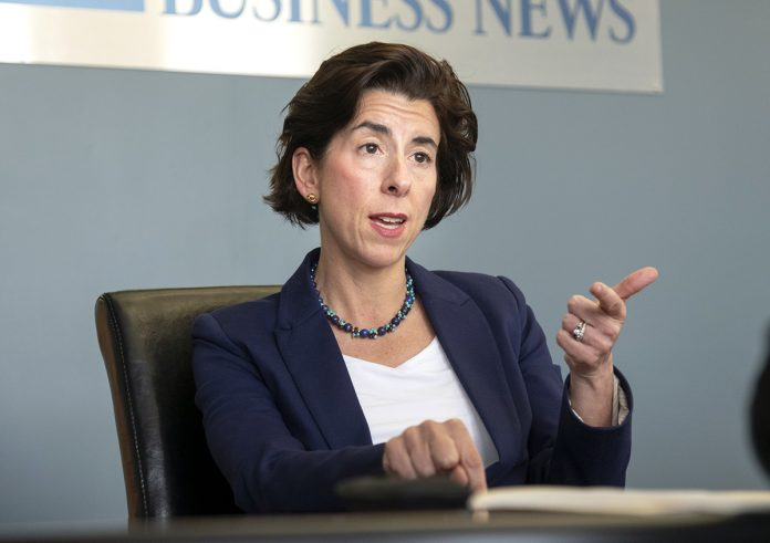 GOV. GINA M. RAIMONDO signed an executive order creating a government efficiency commission to evaluate departments for potential real estate and programmatic streamlining. / PBN FILE PHOTO/MICHAEL SALERNO