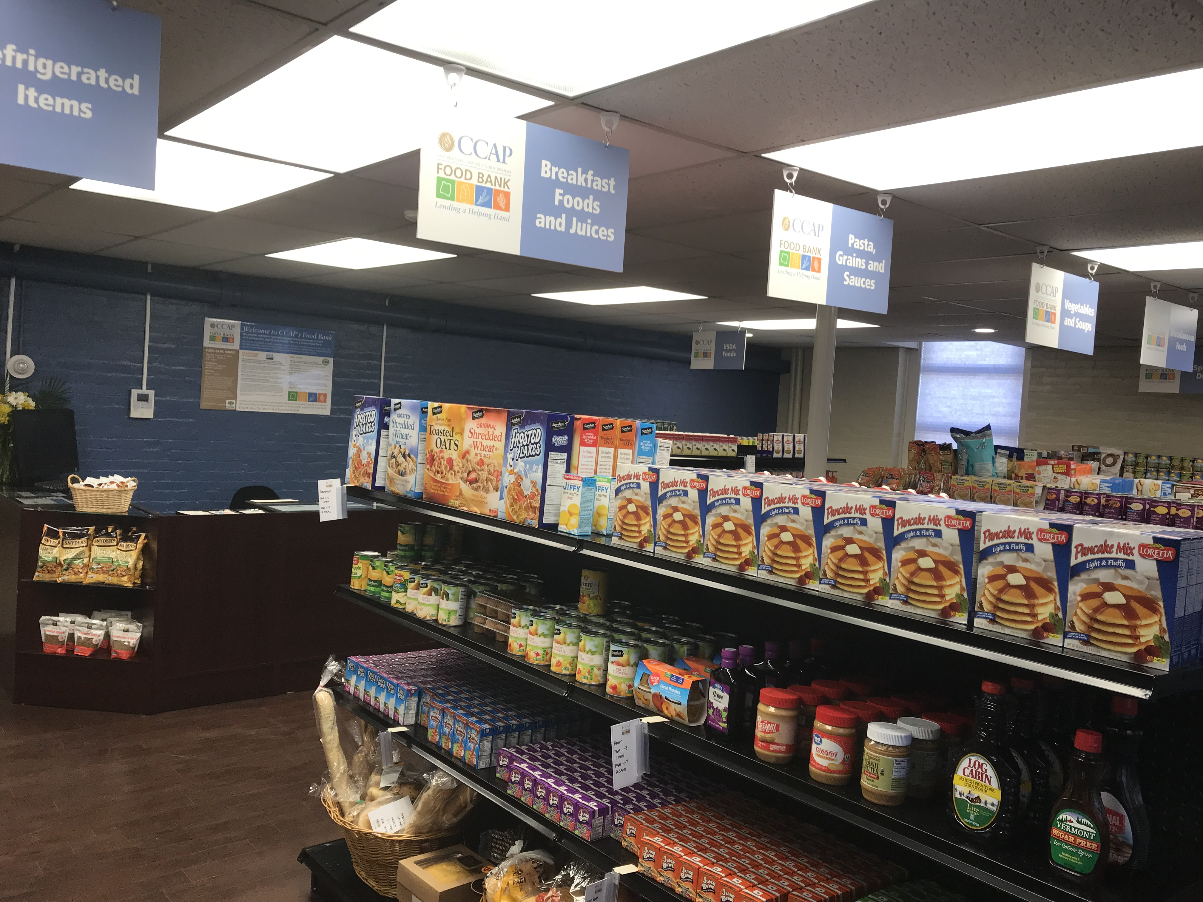 THE NEWLY EXPANDED Choice Food Bank at Comprehensive Community Action Program offers clients the opportunity to select foods they like in a grocery store-type setting./ COURTESY COMPREHENSIVE COMMUNITY ACTION PROGRAM