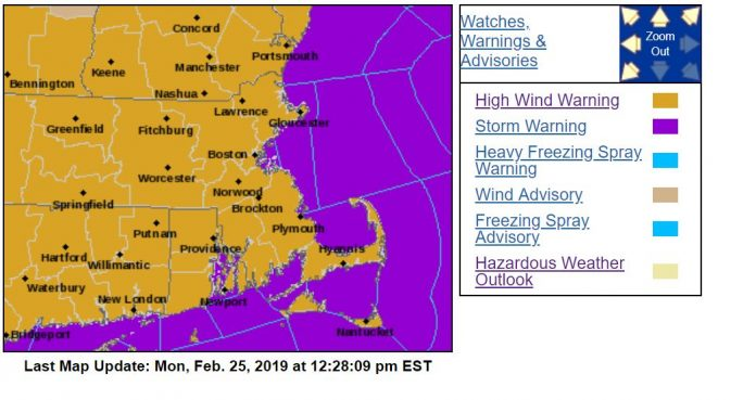 THE National Weather Service has issued a high wind speed warning for Rhode Island and Massachusetts Monday. The winds have caused outages across the region. / COURTESY NATIONAL WEATHER SERVICE