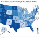 GDP INCREASED at an annualized 2.9 percent in Rhode Island in the third quarter of 2018, 0.5 percentage points lower than the annualized U.S. GDP growth rate. / COURTESY BUREAU OF ECONOMIC ANALYSIS