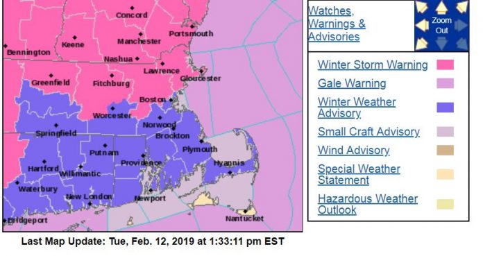 THE NATIONAL WEATHER Service has issued a Winter Weather Advisory for Rhode Island and Bristol County, Mass., predicting a