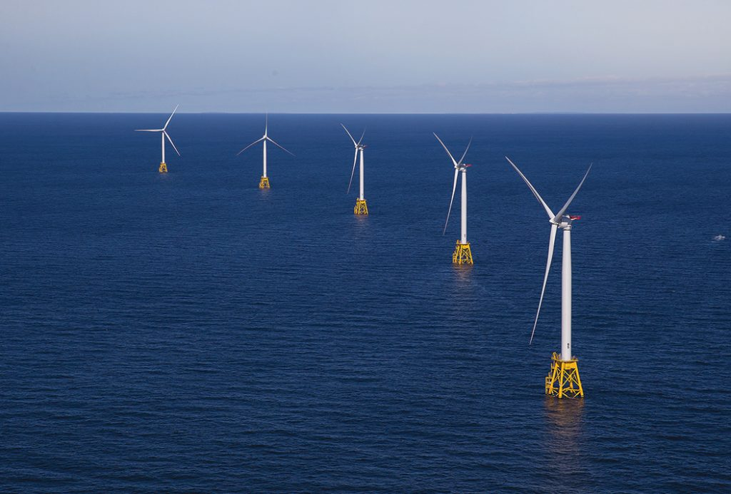 SPINNING NOWHERE? The Block Island Wind Farm may have been the first offshore energy project to start operations in the United States, but the benefits that it promised Rhode Island have yet to materialize. 