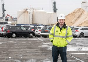 GOOD FIT? Chris Waterson, terminal manager for ProvPort, stands in the area that will handle turbines for offshore wind-energy projects. / PBN PHOTO/MICHAEL SALERNO
