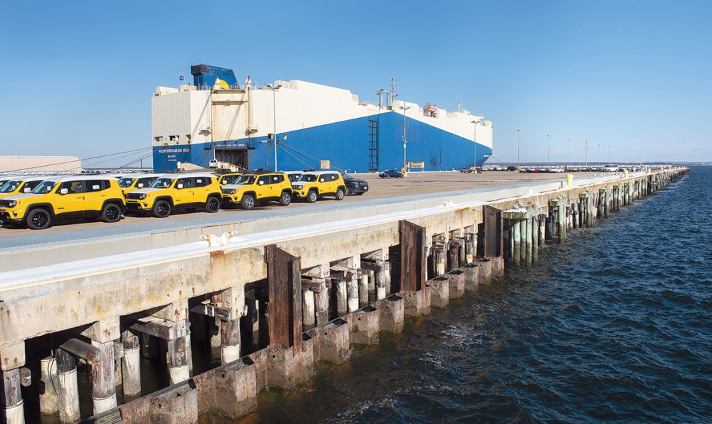 IMPORT RECORD: Pictured is Pier 1 at the Port of Davisville at the Quonset Point, in North Kingstown, which imported a record 241,851 vehicles by ship in 2018.