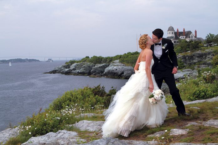RHODE ISLAND RANKED No. 4 in the nation for most expensive average wedding in a survey of U.S. couples. Pictured, Christen and Peter Amenta celebrated their marriage at the Castle Hill Inn & Resort in Newport on June 16, 2013. / PBN FILE PHOTO/KATE WHITNEY LUCEY