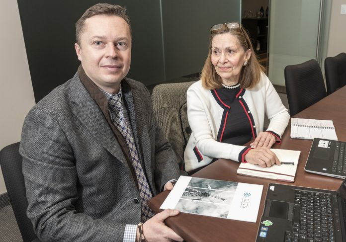GREEN ENERGY: Tomasz Sadowski and Ana Morgan are partners at GETS (Green Energy Tower System), a startup to build solar- and wind-power towers in Rhode Island.