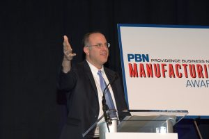 R.I. COMMERCE SECRETARY Stefan Pryor congratulated the winners in remarks given at the sixth PBN Manufacturing Awards program and highlighted the Raimondo administration's efforts to support manufacturers in the state. / PBN PHOTO/MIKE SKORSKI